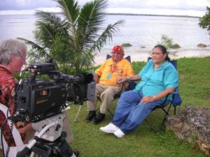 Producer George Colburn interviews Navajo Code Talker Samuel Sandova